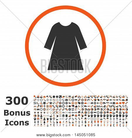 Woman Dress rounded icon with 300 bonus icons. Vector illustration style is flat iconic bicolor symbols, orange and gray colors, white background.