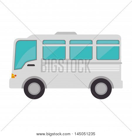 bus minibus auto transport vehicle trip cartoon vector illustration