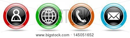 internet glossy round icons set