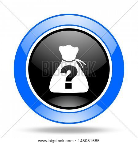 riddle round glossy blue and black web icon