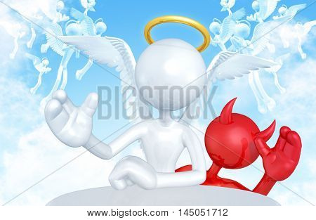 Devil Character Photobombing Angel Character 3D Illustration