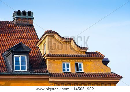 The windows in the attic rooms in the old town