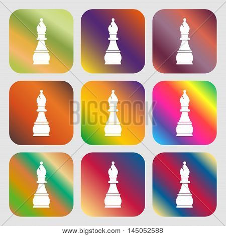 Chess Bishop Sign Icon . Nine Buttons With Bright Gradients For Beautiful Design. Vector