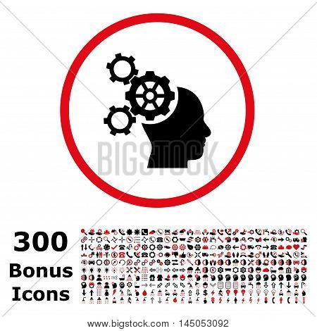 Brain Mechanics rounded icon with 300 bonus icons. Vector illustration style is flat iconic bicolor symbols, intensive red and black colors, white background.