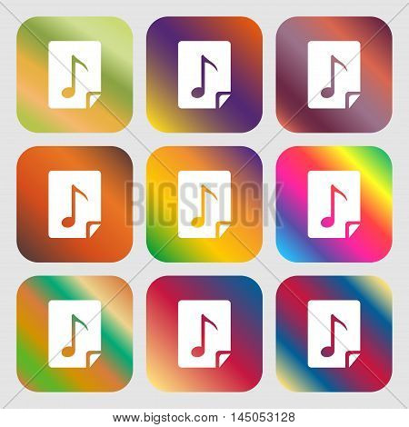 Audio, Mp3 File Icon Sign . Nine Buttons With Bright Gradients For Beautiful Design. Vector
