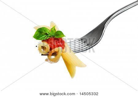 Macaroni pasta with tomato and basil on fork isolated on white background. Fine Italian food. Professional studio image
