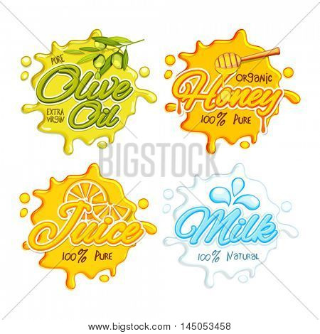 Stickers, Tags or Labels of Olive Oil, Organic Honey, Fresh Juice and Milk, Creative typographic set with splash, Vector illustration.