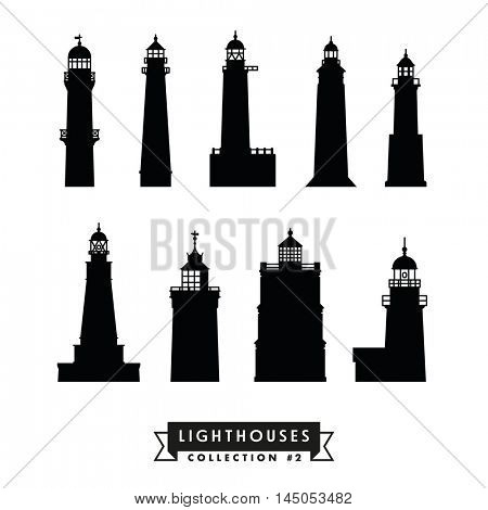 Silhouettes of international lighthouses, set 2