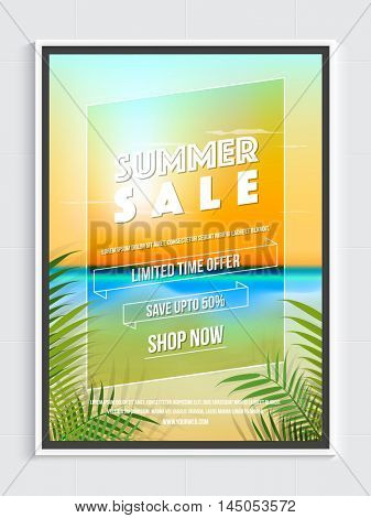 Summer Sale with 50% Discount for Limited Time, Creative Poster, Banner or Flyer layout with beautiful nature view, Vector illustration.
