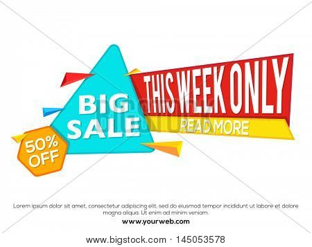 Big Sale with 50% Off for this week only, Creative Paper Tag, Poster, Banner or Flyer design, Vector illustration.