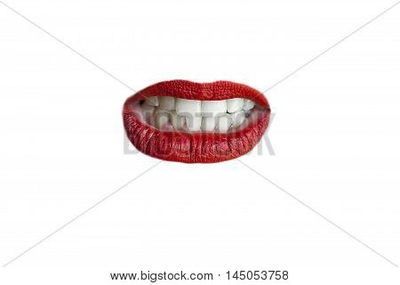 Isolated gnashing teeth and red lips on white background.