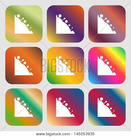 Rockfall Icon . Nine Buttons With Bright Gradients For Beautiful Design. Vector