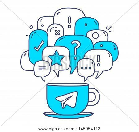 Vector Illustration Of Blue Color Dialog Speech Bubbles With Icons And Cup Of Coffee On White Backgr