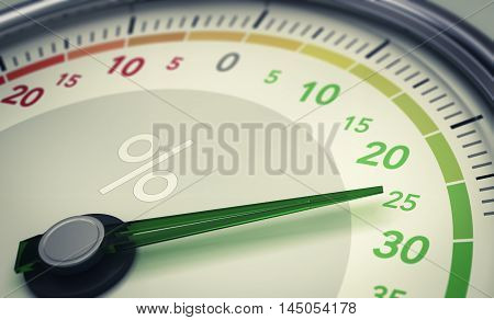 3D illustration of a dial with the needle pointing twenty five percent. Concept of growth