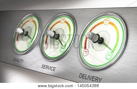 3D illustration of a feedback device with three dials quality service and delivery with the needle pointing the highest level. Marketing concept.
