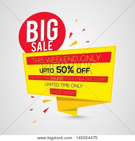 Big Sale with Upto 50% Off for limited time only, Creative Sale Paper Tag, Banner, Poster or Flyer design.