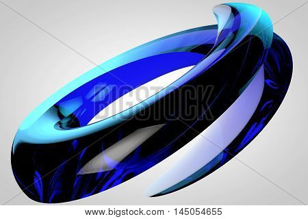Abstract logo in the form of fragmentation rings with lacquered surface and sharp edges 3D render high resolution