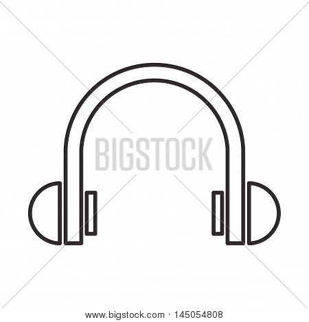 headphone music sound device shape silhouette icon. Flat and isolated design. Vector illustration