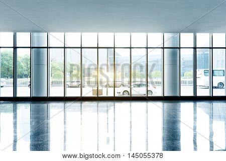 street from glass window with sunbeam
