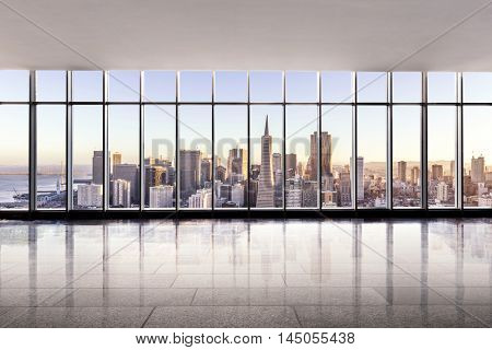 cityscape and skyline of san francisco at sunrise from glass window