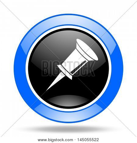 pin round glossy blue and black web icon
