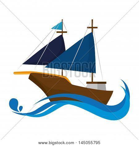 sailboat ship ocean sea navigation vehicle transportation silhouette vector illustration