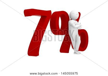 3d human leans against a red 7%