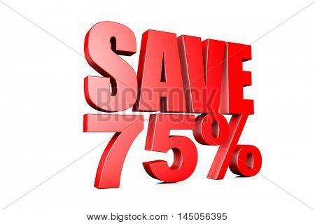 3d illustration save 75%
