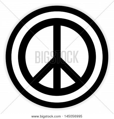 Peace symbol button on white background. Vector illustration.