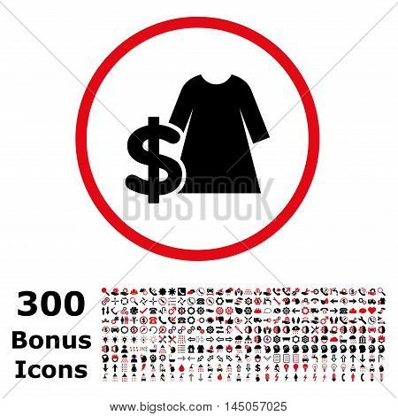 Dress Price rounded icon with 300 bonus icons. Vector illustration style is flat iconic bicolor symbols, intensive red and black colors, white background.