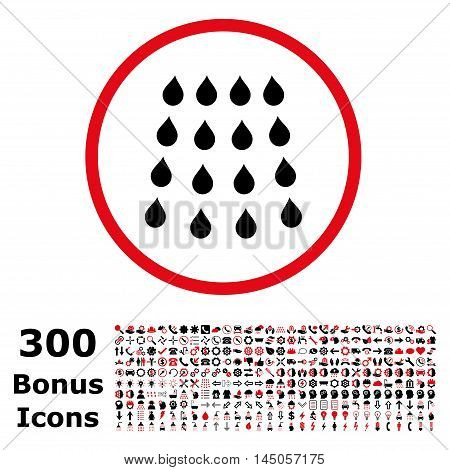 Drops rounded icon with 300 bonus icons. Vector illustration style is flat iconic bicolor symbols, intensive red and black colors, white background.