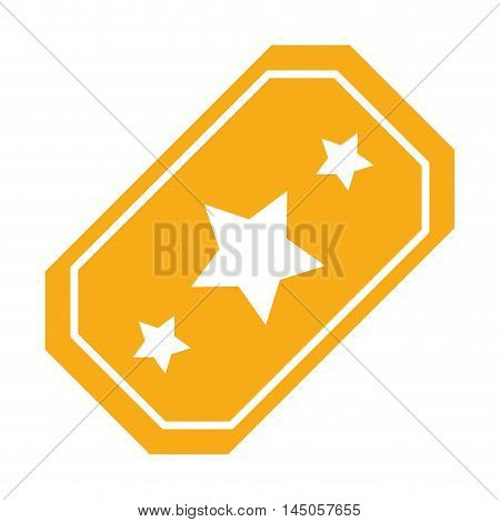 ticket star cinema movie film entertainment icon. Flat and isolated design. Vector illustration