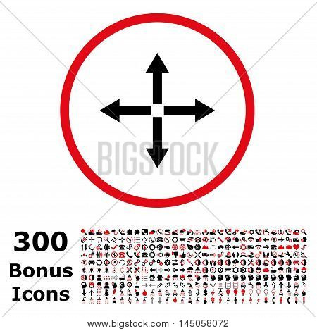 Expand Arrows rounded icon with 300 bonus icons. Vector illustration style is flat iconic bicolor symbols, intensive red and black colors, white background.