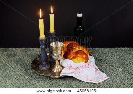 Shabbat Shalom Hebrew With Kiddush Candles