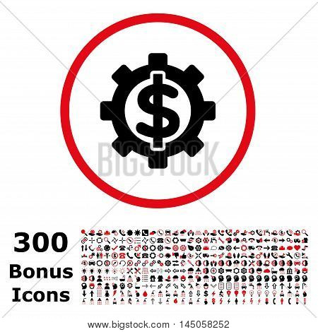 Financial Options rounded icon with 300 bonus icons. Vector illustration style is flat iconic bicolor symbols, intensive red and black colors, white background.