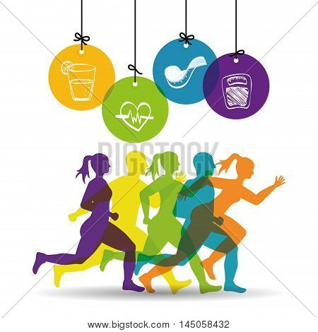 runner man woman heart scale meter juice athlete running training fitness healthy lifestyle sport marathon icon. Colorful and flat design. Vector illustration