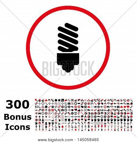 Fluorescent Bulb rounded icon with 300 bonus icons. Vector illustration style is flat iconic bicolor symbols, intensive red and black colors, white background.