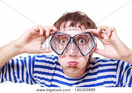 funny guy shows swimming underwater isolated on white background. young man he held breath to dive into the water in scuba mask. looking at camera