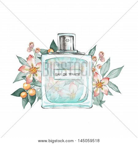Bottle of perfume and flowers 2. Ink and watercolor sketch. Isolated on white background