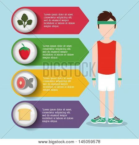 man boy healthy fitness gym bodybuilding icon. Colorful and Isolated design. Vector illustration