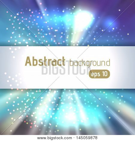 Background With Colorful Light Rays. Abstract Background. Vector Illustration. Blue,  White Colors.