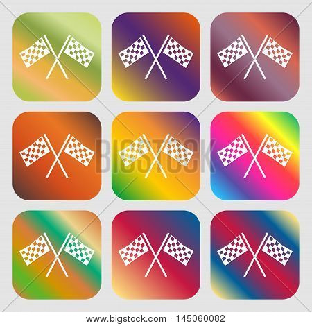 Race Flag Finish Icon Sign . Nine Buttons With Bright Gradients For Beautiful Design. Vector