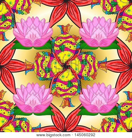 Vector vivid abstract hand drawn pattern with red flowers pink lotus and yellow doodles fishes.