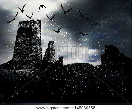 Dark scary winter landscape with silhouette of castle, birds and snow. Halloween landscape with flying snow and ruins of dark castle