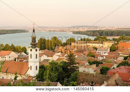 Panoramic view of historic town Zemun, part of Belgrade, Serbia