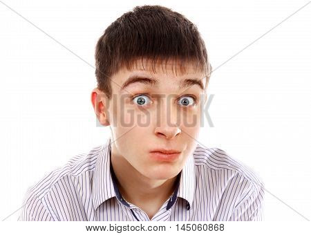 Surprised Young Man Isolated on the White Background