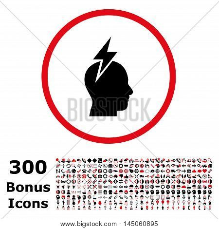 Headache rounded icon with 300 bonus icons. Vector illustration style is flat iconic bicolor symbols, intensive red and black colors, white background.