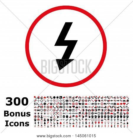High Voltage rounded icon with 300 bonus icons. Vector illustration style is flat iconic bicolor symbols, intensive red and black colors, white background.