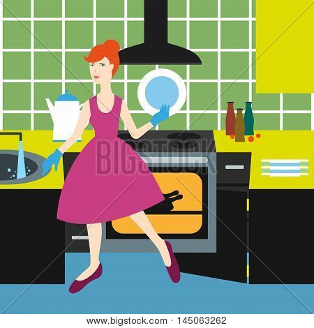 Housewife Vector illustration Housewife in the kitchen washes dishes prepares food and closes the door