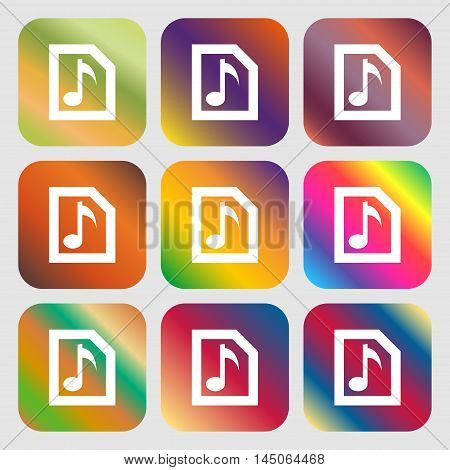 Audio, Mp3 File Icon. Nine Buttons With Bright Gradients For Beautiful Design. Vector